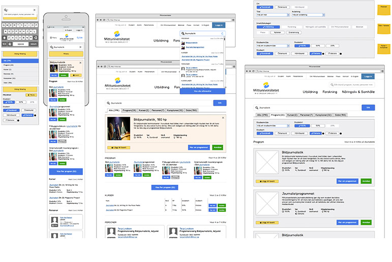 <p>For the larger and more complex pages we created interaction design prototypes and tested for different resolutions. This is a prototype of the new search engine.</p>